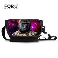 3D Monkey Print Men S Messenger Bags Universe Space Canvas Children Cross Body Bags For Boys