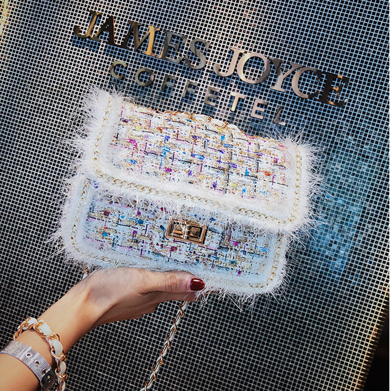 Detail Feedback Questions about FEMALEE Elegant Chains Women bag 2019  Checkered Tweed handbag Sweet Girls Woolen Satchel bag Pearl Shoulder  Messenger Bags ... 6ac662c76ec6