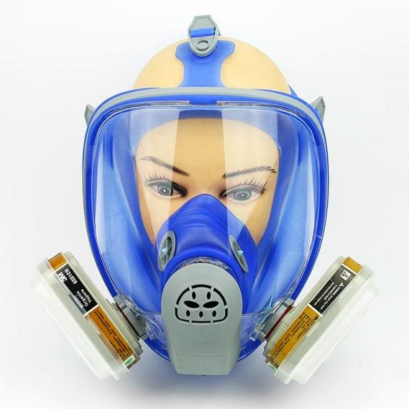 For 6800 Blue Silicone Gas Mask Full Facepiece Respirator 7 Piece Suit Painting Spraying Anti Dust