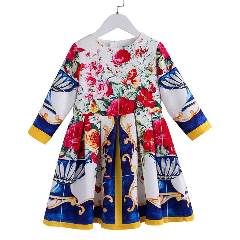 Mode automne bébé filles robe 3D impression coton doublure à manches longues Boutique enfants vêtements adolescente princesse Costume