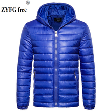 EU large size men Hooded autumn winter jacket casual style coat solid color fashion cotton dress out ware Cotton clothes