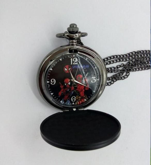 Wholesale Price Vintage Deadpool spider-man Fashion quartz steam punk man and woman gift steam punk pocket watches