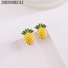 2017 New Fashion Stud Earrings Pineapple earrings trendy cute beautiful birthday party earrings for women jewelry Gift e0407(China)
