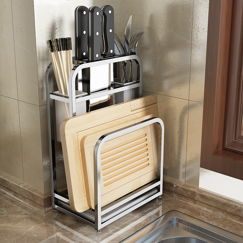 A1  Multi Functional Kitchen Supplies Vegetable Tool Holder Stainless Steel Kitchen Knife Holder Knife Cutting Board LU4248