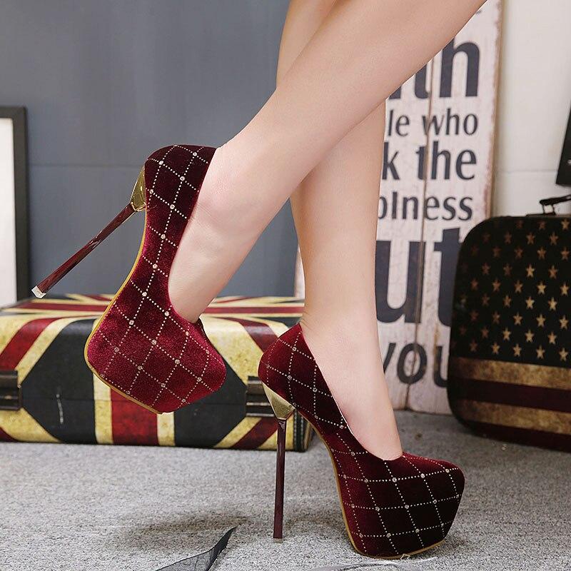 Aliexpress Rhinestone Shoes High Heels Pumps Women Platform Red Wedding Y Size 34 40 Yma159 From