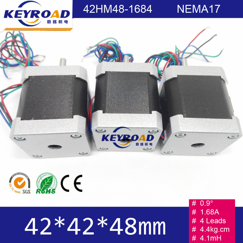 3pcs 0.9 degree 1.68A 4.4Kg.cm 3000rpm 42mm*48mm 2phase hybrid stepper motor with 4 wires NEMA17 JL42HM48 1684-in Stepper Motor from Home Improvement    2
