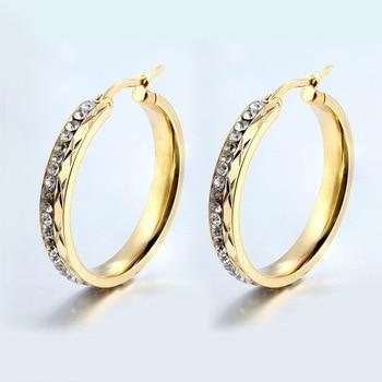 2017 New Fashion Elegant Round pattern Crystal High Quality Gold Hoop Earrings for Women Hoop Earrings Women Fashion Jewelry