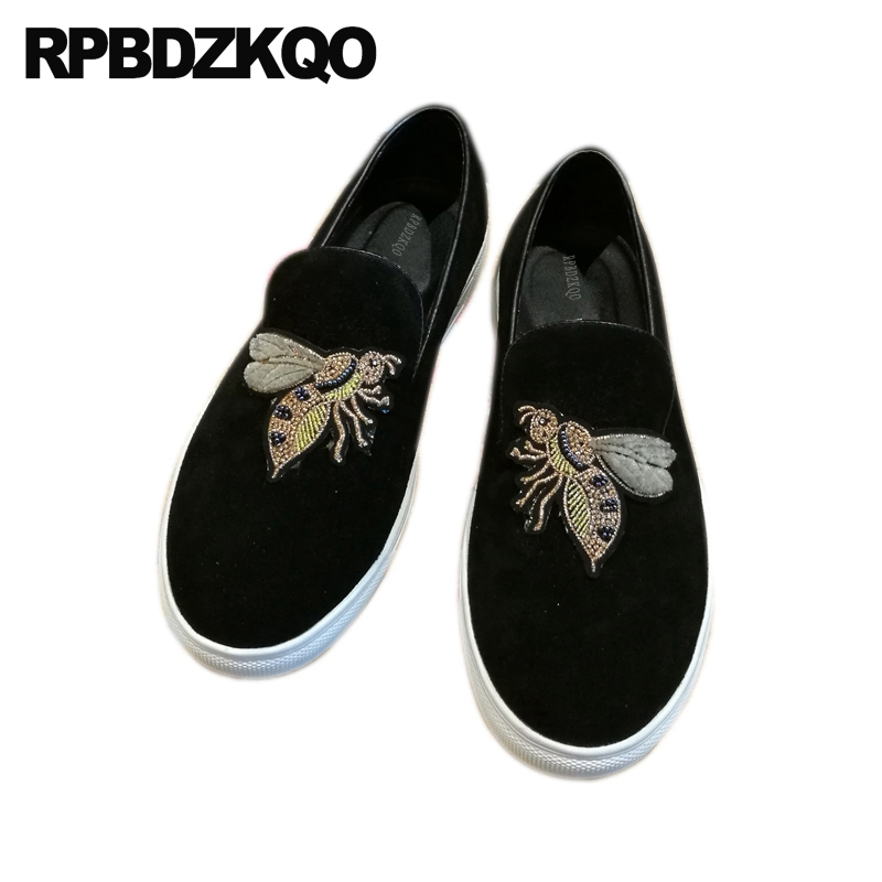 992664e8dbaa24 New Bee Embroidery Rubber Sole British Style Italian Mens Shoes Brands  Printed Runway Sneakers Skate Real Leather Black Loafers
