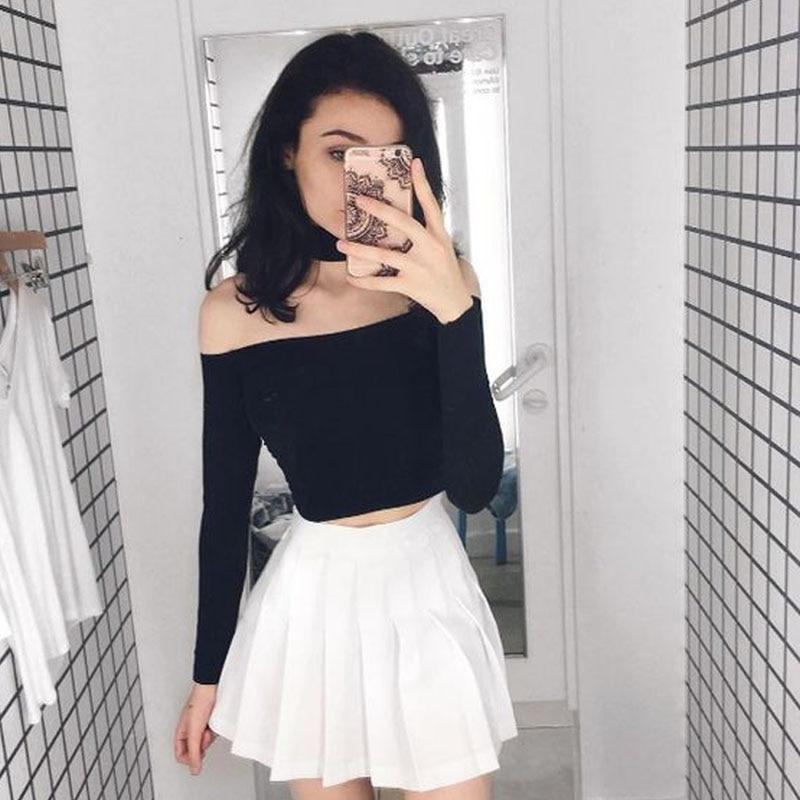 aba687ecb5 Women Skirt High Waist Plain Skater Flared Pleated Girls Vintage Black  White Cute School Uniforms Skirts