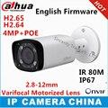 Dahua h2.65 ipc-hfw4431r-z 2.8mm ~ 12mm lente varifocal motorizada 4mp câmera de rede ir 80 m câmera ip poe câmera de cctv