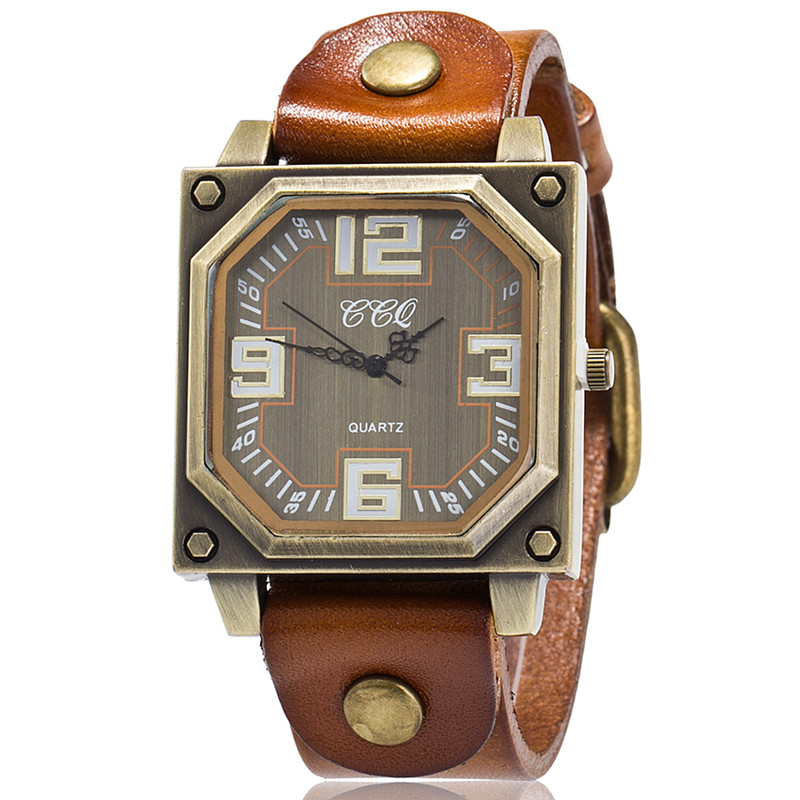 CCQ Brand Vintage Cow Leather Bracelet Watch Casual Women WristWatch Luxury Quartz Watch Relogio Feminino Gift Clock