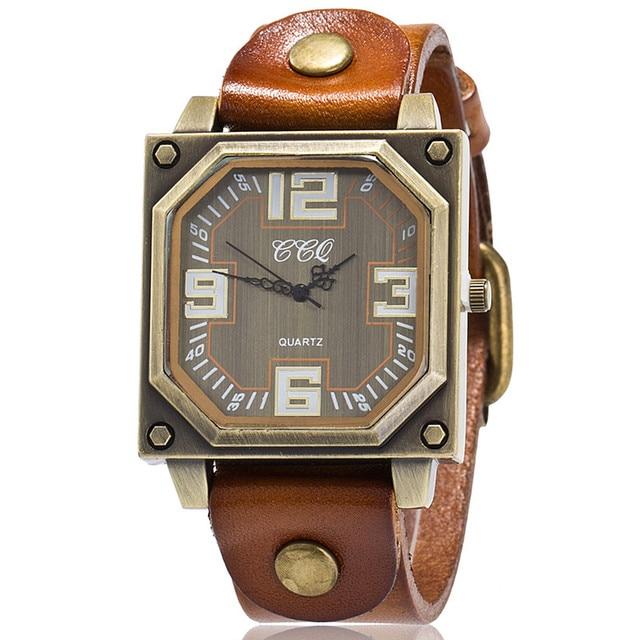 CCQ Marca Vaca Do Vintage Pulseira De Couro Relógio Casual Mulheres Relógio  De Pulso Presente Relógio fa7c8151d7