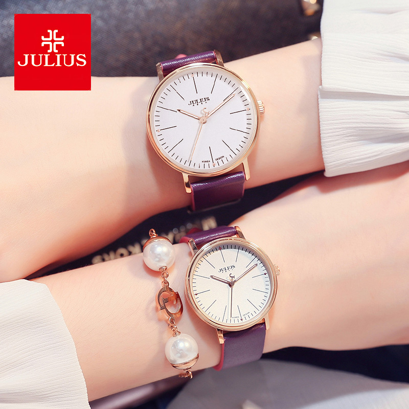 Julius Women's Watch Men's Watch Couple Japan Quartz Hours Fashion Simple Bracelet Real Leather Girl's Birthday Lovers Gift Box