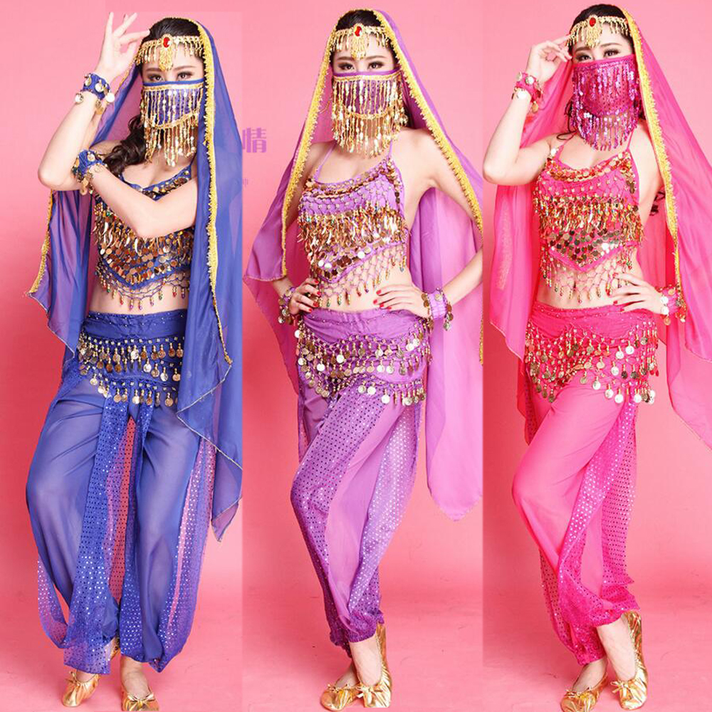4Pieces Belly Dance (Pant+Top+ Belt+veil )Women Belly Dance Costumes Bollywood Dress Adult Cheap Price Belly Dance Dress Outfits