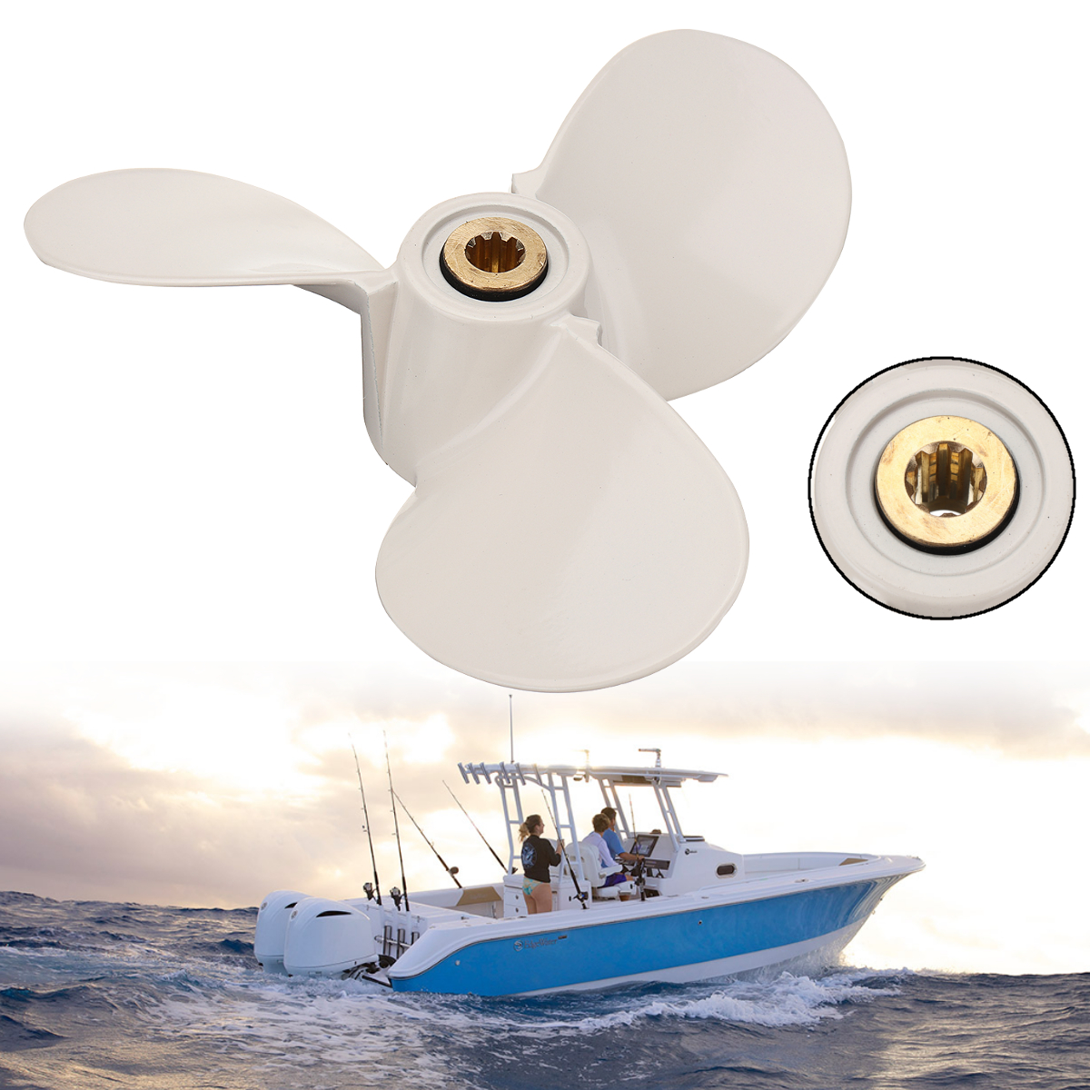 6E0-45941-01-EL For Yamaha Mariner 4-6HP 190mm 8-BA Aluminum Alloy Outboard Propeller White 3 Blades 9 Spline Tooth Boat Parts цены онлайн
