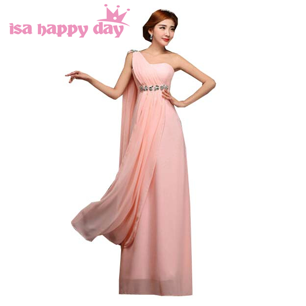 long pink a line one shoulder   prom     dress   girls pageant floor length formal cheap sweet 16 party   dresses   size 8 under $50 H1999