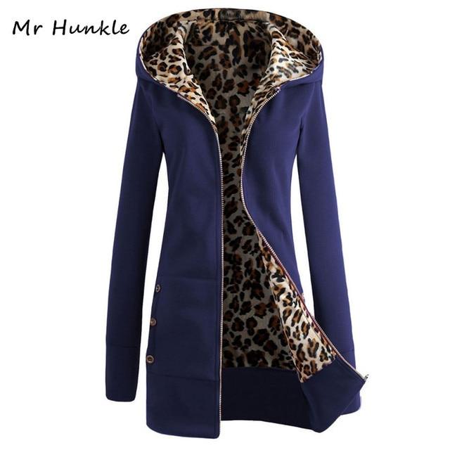 Autumn Winter Women Coats Hooded Thickening Jackets Leopard Female Printed Fleece Lady Long Casaco Slim Warm Coat