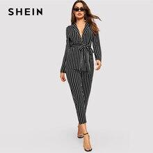 SHEIN Blazer a rayas con cinturón para mujer, conjunto de pantalones y pitillera de manga larga, ropa de trabajo elegante de primavera