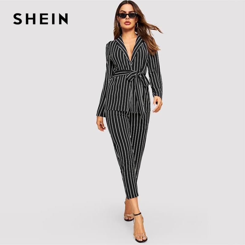 SHEIN Shawl Collar Belted Pinstripe Blazer Cigarette Pants Set Long Sleeve Co-Ord Women Spring Elegant Workwear Twopiece