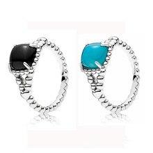 e16d3f4fc 100% 925 Sterling Silver Ring For Women Vibrant Spirit Ring Scuba Blue  Black Crystal Ring