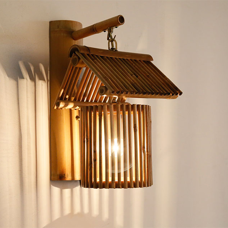 Chinese sytle wall lamp Hand-made bamboo light aisle corridor SPA club  bar hotel porch restaurant cafe E27 sconce bra