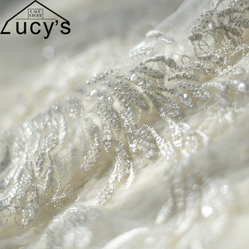 European style wedding lace fabric Ivory beads sequins lace embroidered 1 Yard Super luxurious heavy beaded