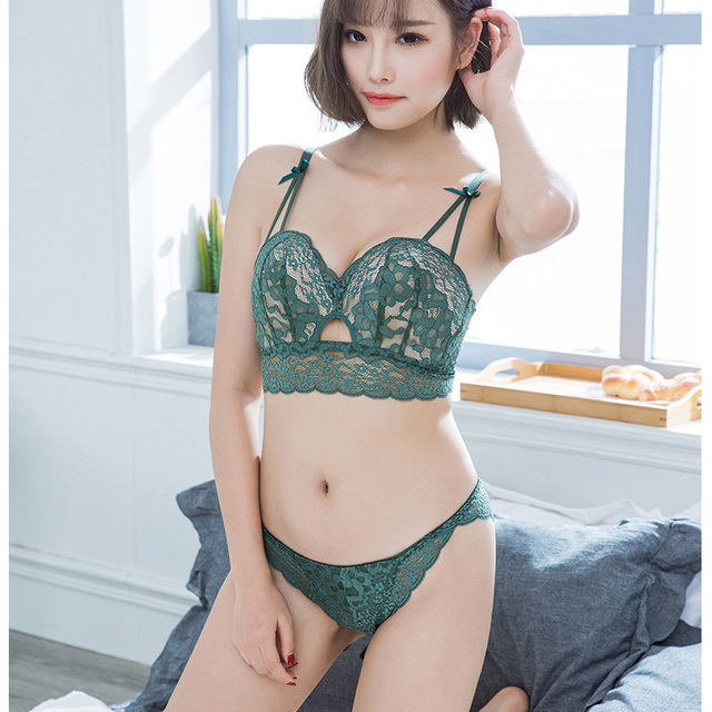 65a57786b5f14 Hollow out deep-v neck lace transparent seamless bra set push up sexy young  girls small lingerie adjustable ladies underwear