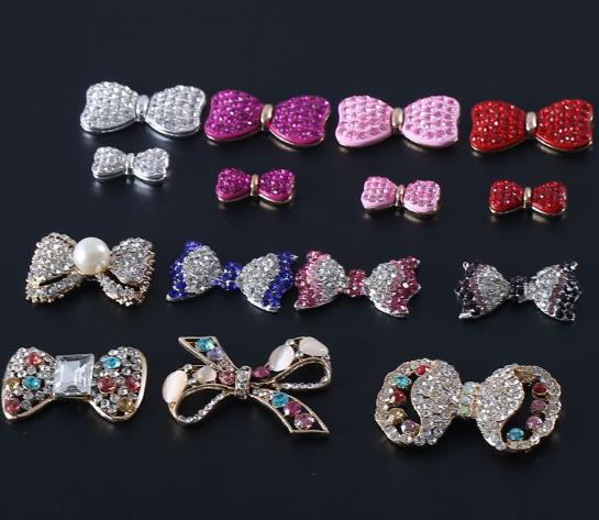 Apparel Sewing & Fabric 15 Kinds Of Style Drill Alloy Button 100pcs/lot Bowknot Rhinestone Alloy Buttons Crystal For Wedding/party/dress Accessories Elegant Appearance