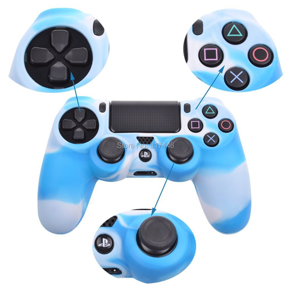 White And Blue Mix Camo Silicone Rubber Duable Protective Case Skin Grip Cover For Playstation 4 Ps4 Controller Various Styles