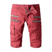 2016 new arrival summer wine red men's casual Denim shorts, men's Knee Length shorts,men's jeans plus-size 28-40