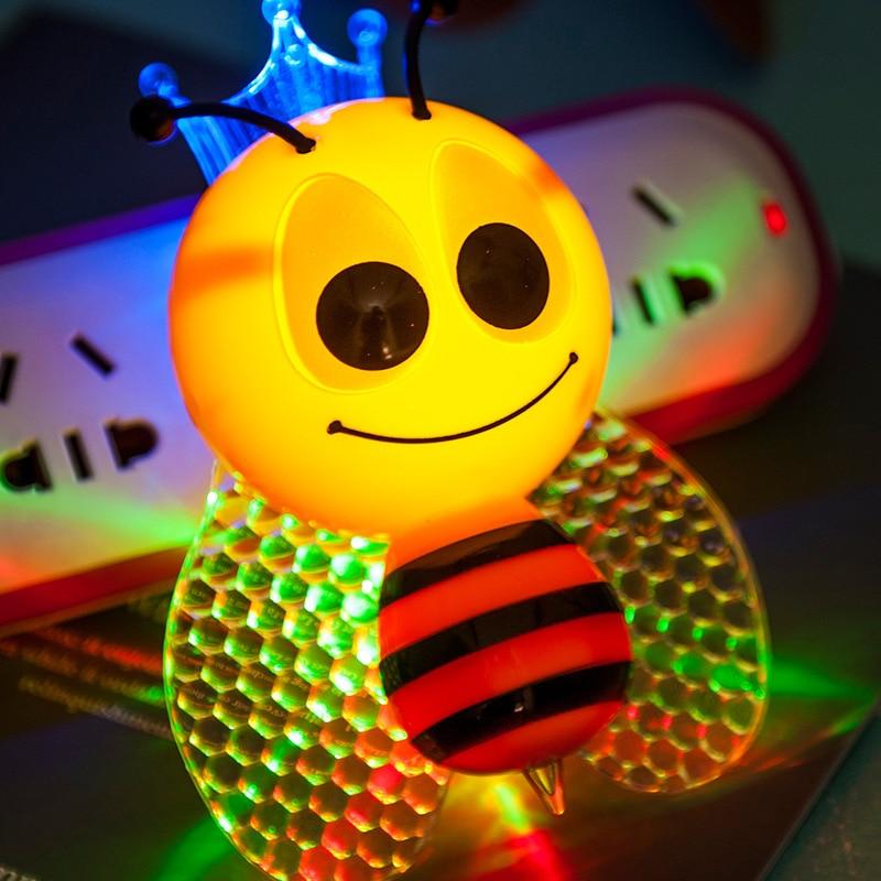 Lovely Cute Baby Night Light Colorful Bee Butterfly Animal LED Sensor Lights EU Plug Children Kids Lamp Home Decoration Gizmo