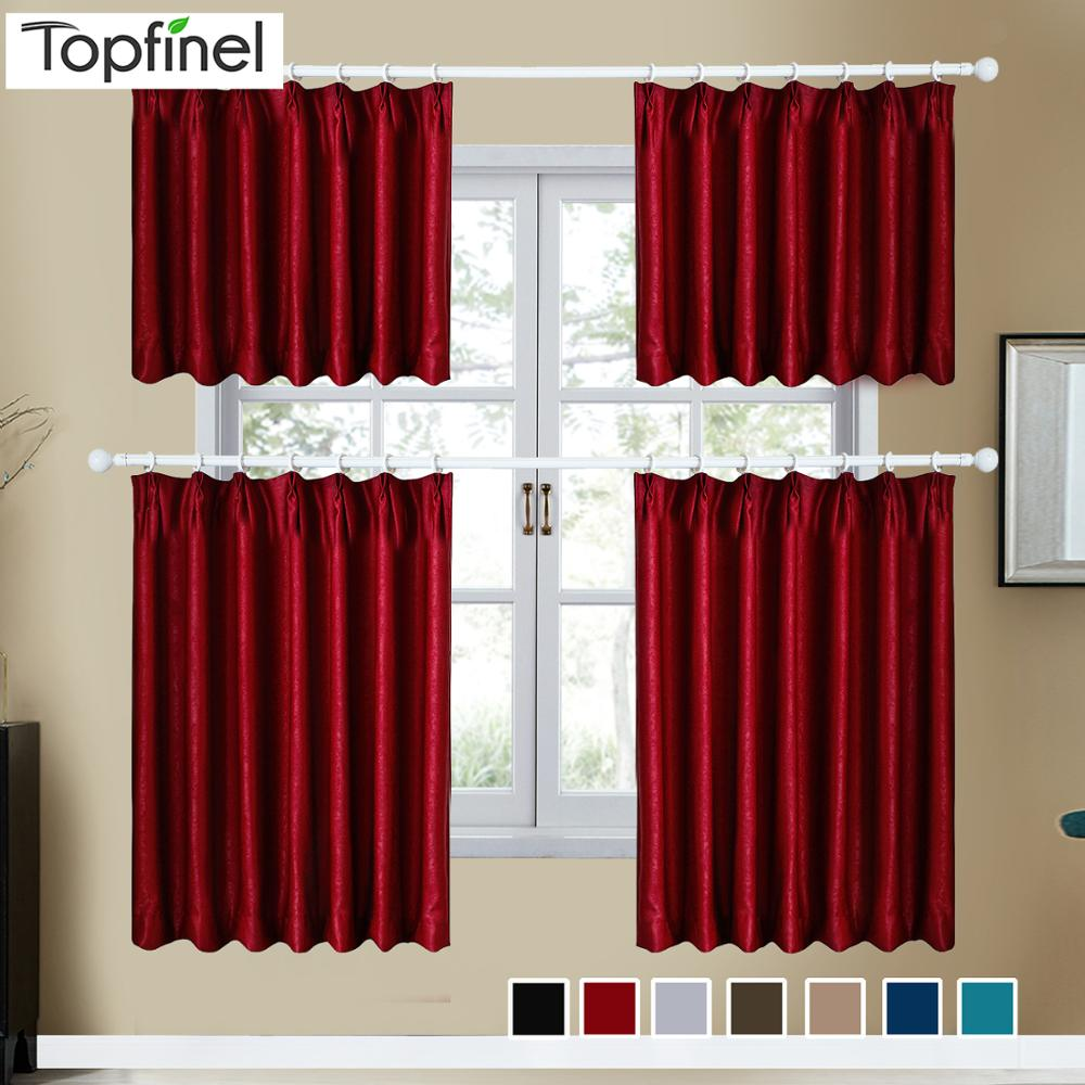 Topfinel Velvet Short Curtains For Living Room Kitchen Door Window Panel Curtain Drapes Solid Color Divider Home Decor