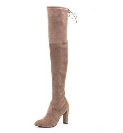 Big Size 11 Women Highland Boots Thick Heels Back Tie Over The Knee Stretch Boots Sexy Tight High Boots Free Ship Real Photo