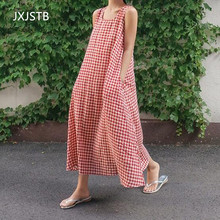 Vintage Casual Check Plaid Dresses 2019 Summer Beach Party Dress Women Sleeveless Loose Long Maxi