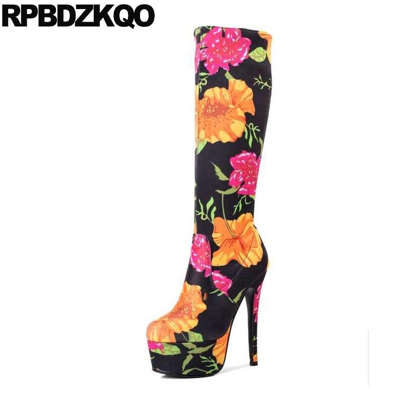 Flower Designer Shoes Women Luxury 2017 Vintage Knee High Heel Sexy Elastic 15cm Printed Platform Stretch Floral Print Slim