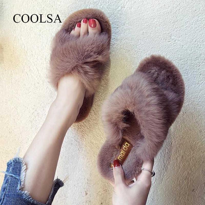 2019 yeni bayanlar kabarık tavşan kürk terlik rahat çapraz yumuşak kapalı slaytlar kürklü sıcak tembel kalite Flip flop peluş ayakkabı