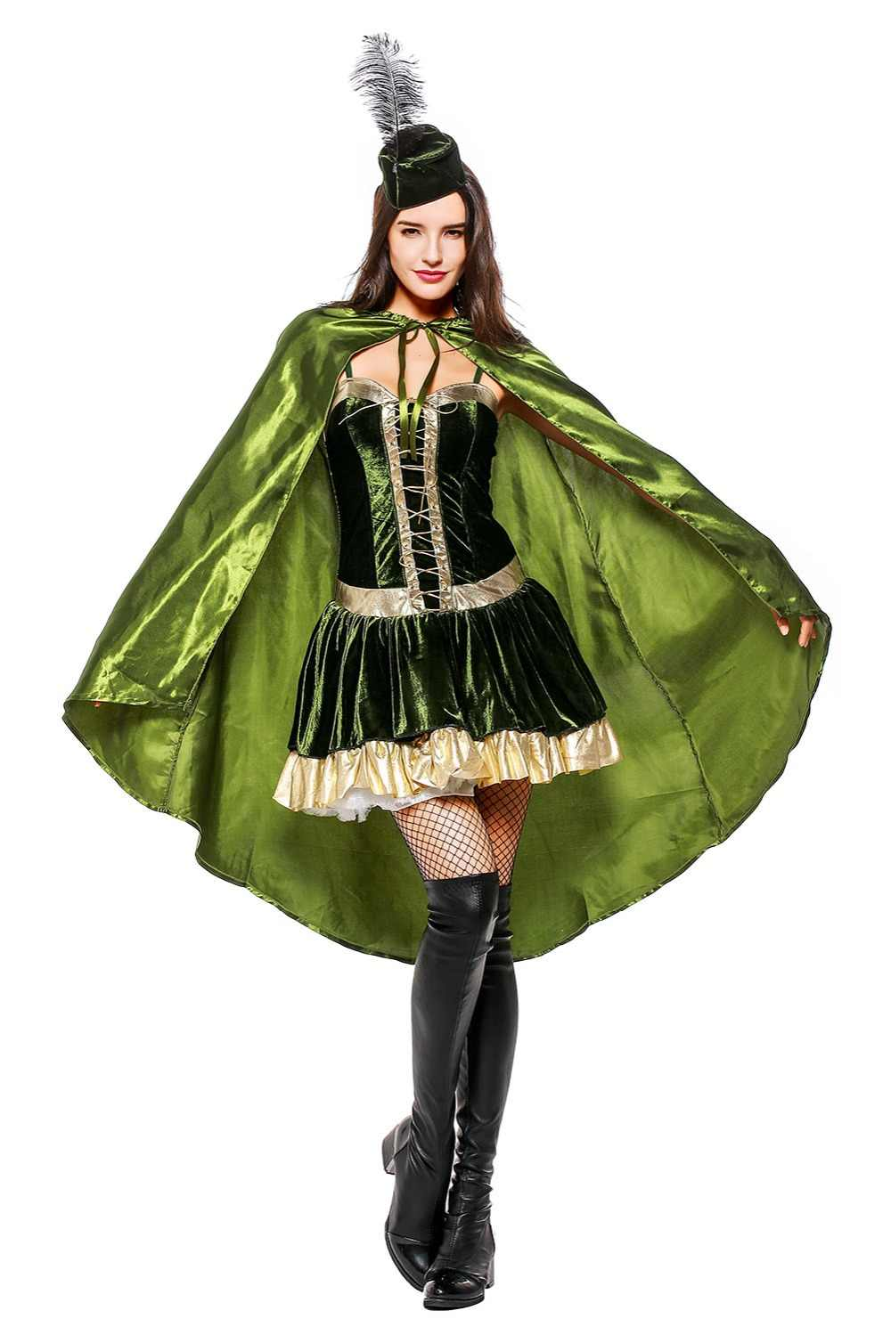 fc94763c Girl Soldier Costume Carnival Halloween Robin Hood Cospaly Fancy Dress for  Adult Women Stage Party Costumes