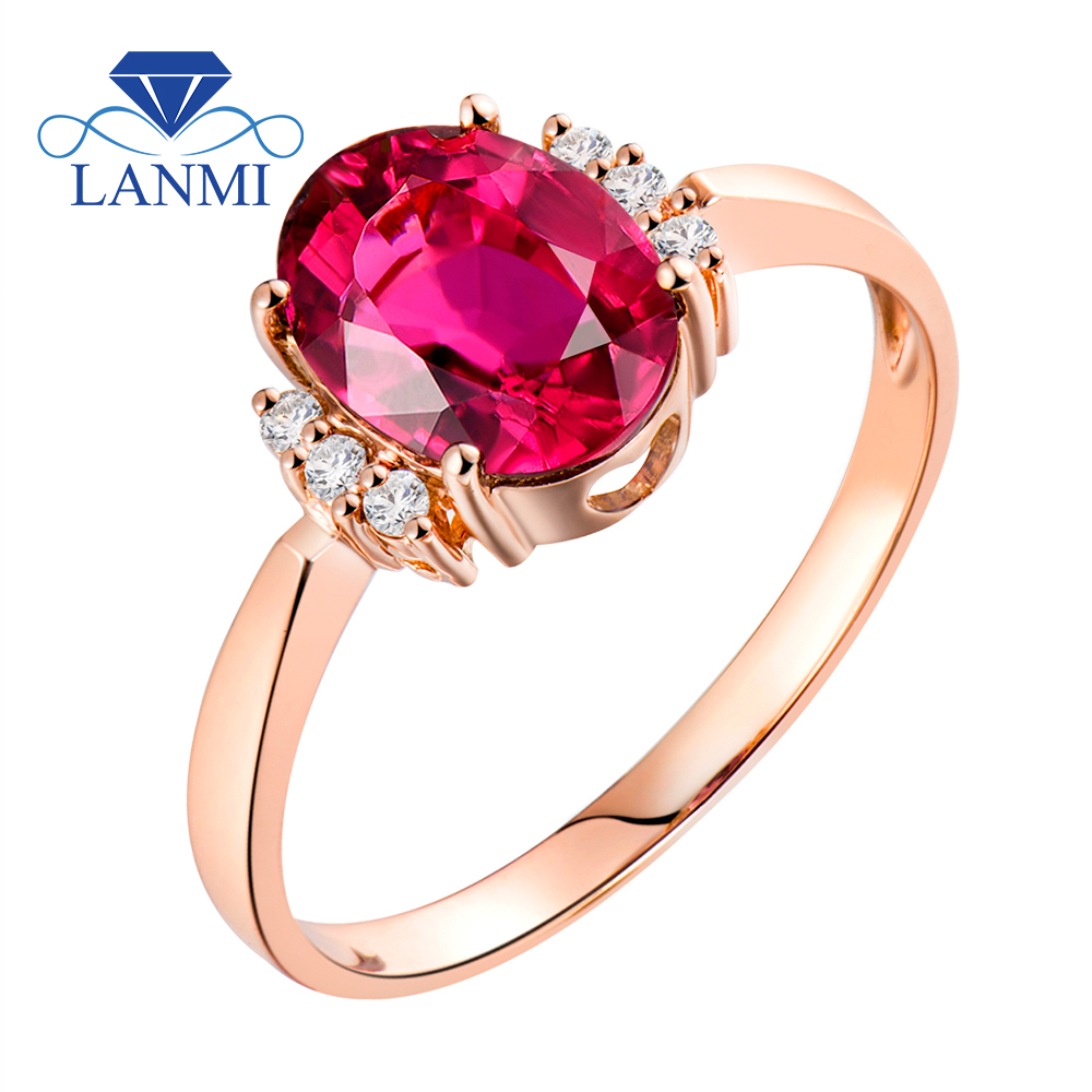 Lanmi Positive Jewellery Rings For Ladies 14Okay Rose Gold Ring Engagement Diamond Pure Oval 6X8Mm Tourmaline Stone Birthday Celebration