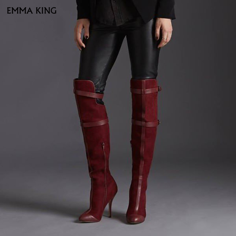 Maroon Stiletto Boots Suede Knee-high Boots for Women Plus Size Botas Mujer Cocktail & Party Shoes Woman Booties Free ShippingMaroon Stiletto Boots Suede Knee-high Boots for Women Plus Size Botas Mujer Cocktail & Party Shoes Woman Booties Free Shipping