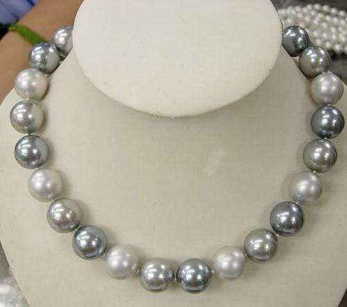 """Venda quente novo estilo >> >> > 12 MM elegante branco preto cinza pérola colar 18 """""""