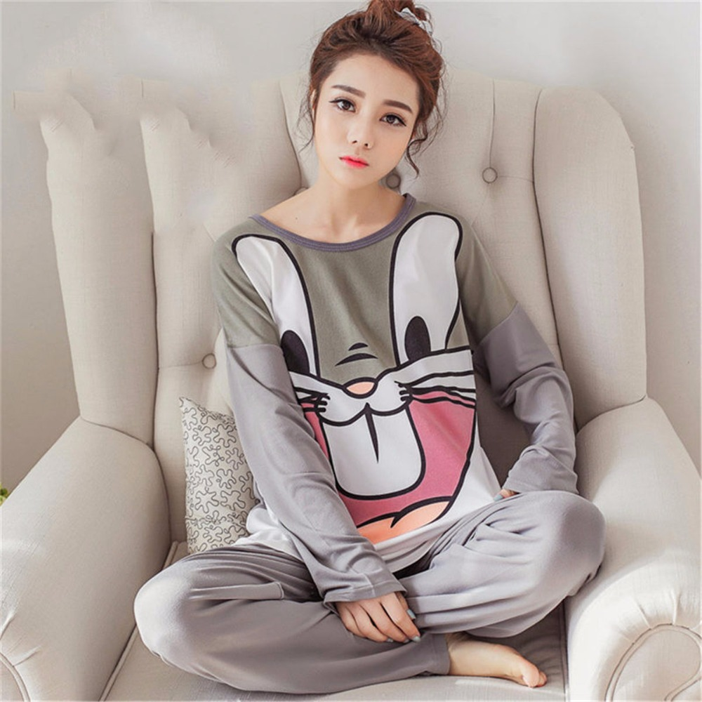 Cute Spring Women   Pajamas     Sets   Sleep Pant Autumn Cartoon Warm Modal Casual female Suit kawaii Long Sleeve Animal sleepwear