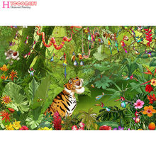 5D DIY full Square / Round Drill diamond painting cross stitch Cartoon mini tiger Rhinestone embroidery Home Mosaic decor gift(China)