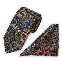 8cm tie set big flower men's necktie for men paisley handkerchief neck tie set business neckwear ascot shirt accessories