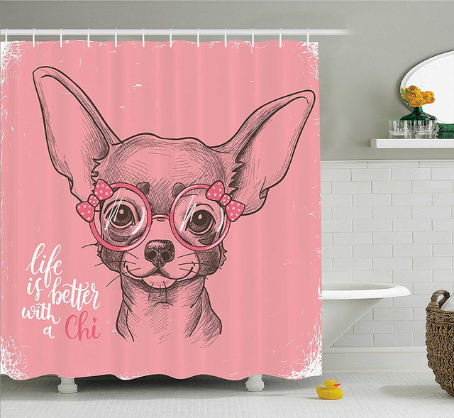 Pale Pink Life Is Better With A Chi Chihuahua Dog Shower Curtain Girl Sketch Puppy Bathroom Curtains Pet Home Decor