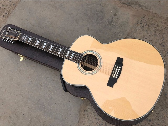 free shipping 43 inches top quality 12 string solid guild jumbo 12 strings guitar gloss finishing acoustic electric guitar