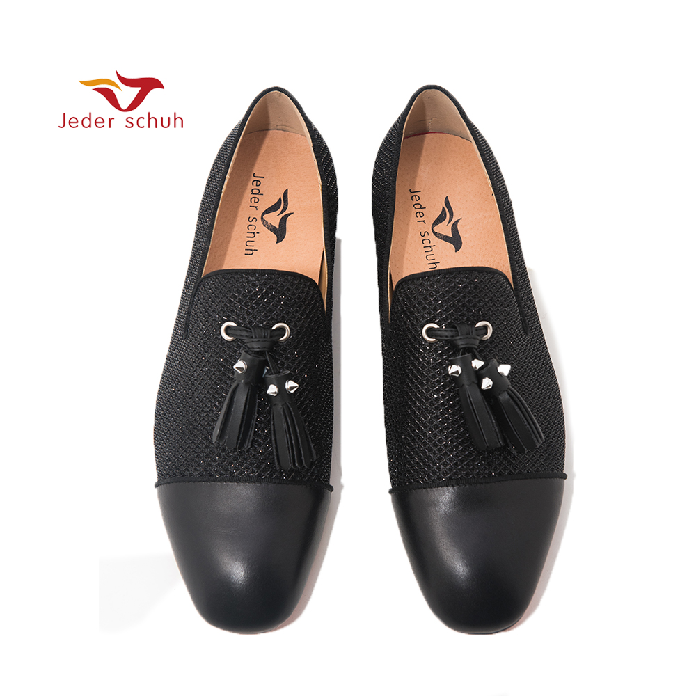 Jeder Schuh Men s loafers black 3 D honeycomb upper design with leather toes for men