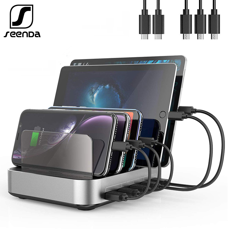 SeenDa 5 Ports USB Charging Station Dock with Holder 50W 10A Desktop USB Charger for Mobile Phone Tablet Charging Dock Organizer