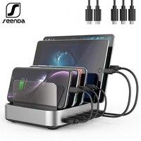 SeenDa 5 Ports USB Charging Station Dock with Holder 50W 10A Desktop USB Charger for Mobile Phone Tablet Charging Dock Organizer
