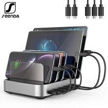 SeenDa 5 port USB şarj istasyonu standı tutucu ile 50W 10A masaüstü USB şarj aleti cep Tablet telefon şarj standı organizatör