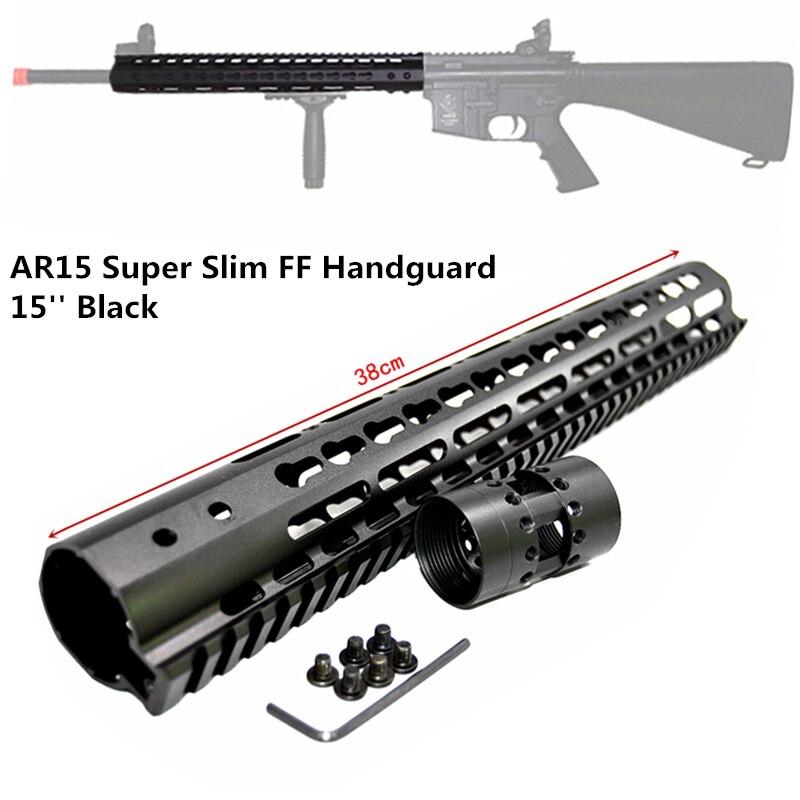 "FIRECLUB 15"" inch Free Float NSR KeyMod Handguard Mount Bracket with Detachable Rail BLACK Barrel Nut For AR-15 M4 M16(China)"